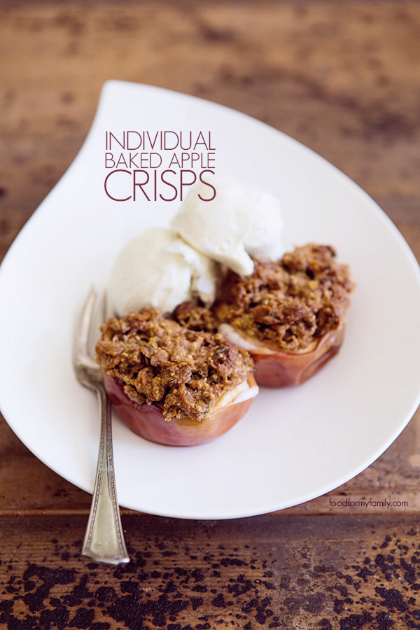 Individual Baked Apple Crisps #Recipe FoodforMyFamily.com