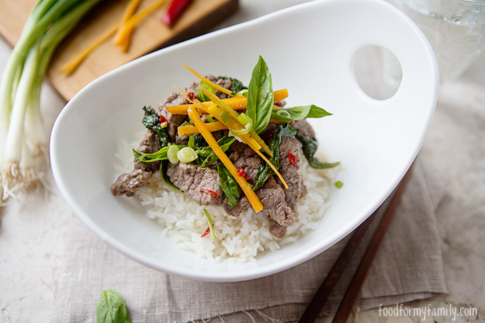 Thai Basil Beef with Coconut Rice #recipe via FoodforMyFamily.com