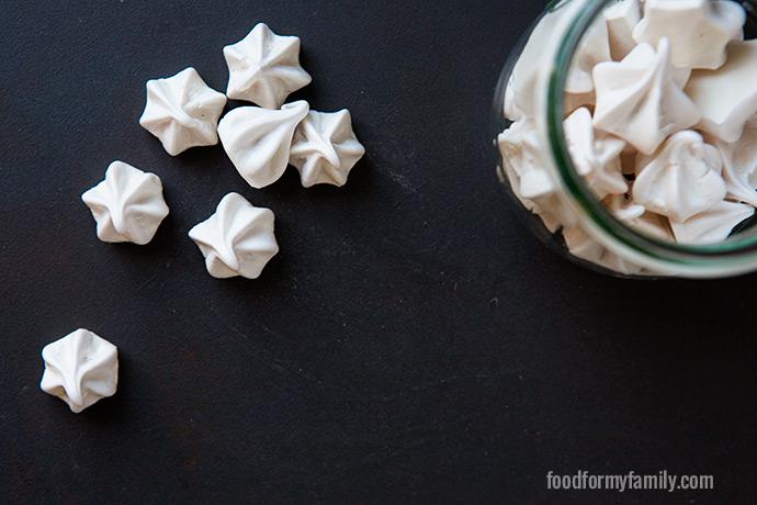Vanilla Raspberry Mini Meringue Kisses #recipe via FoodforMyFamily.com