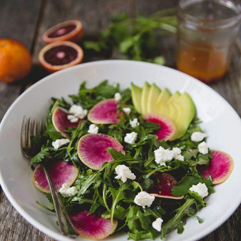 Watermelon Radish and Arugula Salad with Citrus Vinaigrette #recipe   FoodforMyFamily.com