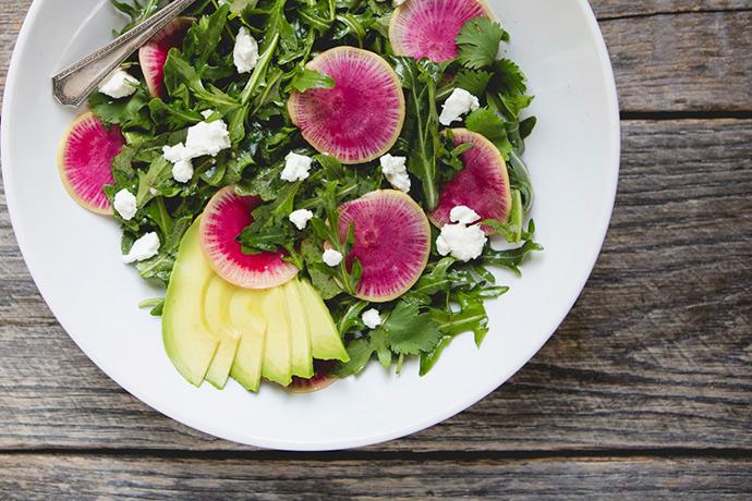 Watermelon Radish and Arugula Salad with Citrus Vinaigrette #recipe | FoodforMyFamily.com