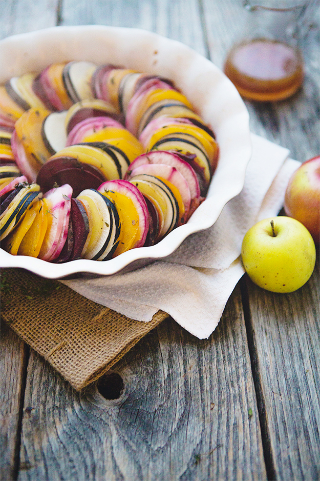 Beet and Root Vegetable Tian with Apple Cider Reduction