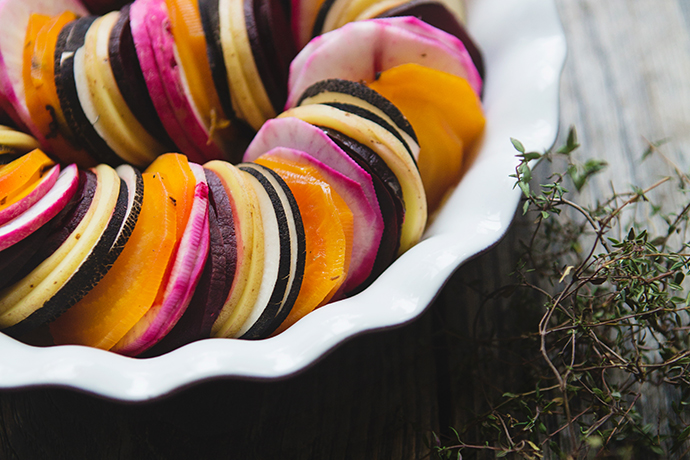 Beet and Root Vegetable Tian with Apple Cider Reduction recipe | FoodforMyFamily.com