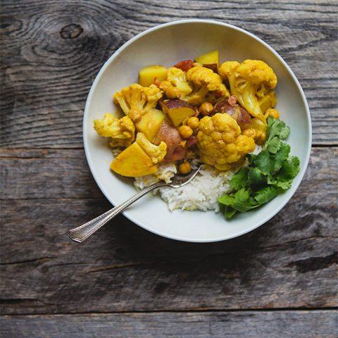 Chana Aloo Gobi Masala: Chickpea, Potato, Cauliflower Curry Recipe | FoodforMyFamily.com