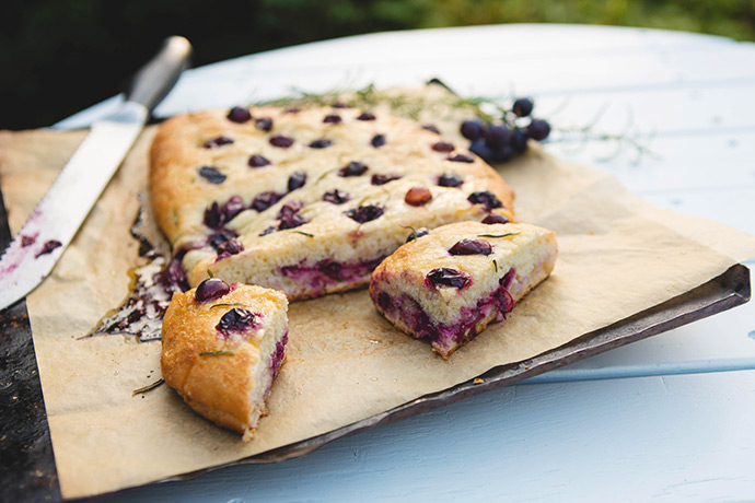 Concord Grape Focaccia with Salted Honey Glaze Recipe | via FoodforMyFamily.com