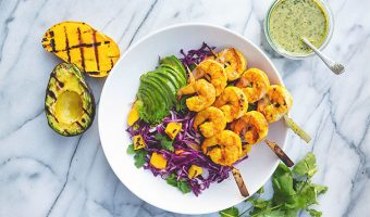 Grilled Turmeric Ginger Shrimp and Mango Avocado Slaw with Cilantro Lime Dressing Recipe: Food for My Family