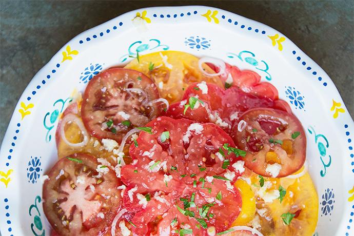Heirloom Tomato Salad for an Avocado Toast Bar | FoodforMyFamily.com