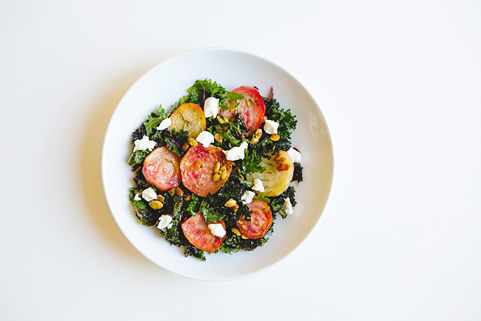 Honey Roasted Beets and Kale Salad w/ Apple Cider Vinaigrette | #recipe via FoodforMyFamily.com