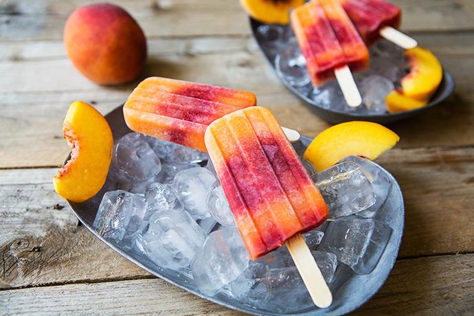 Peach Raspberry Hydration Paletas recipe | FoodforMyFamily.com