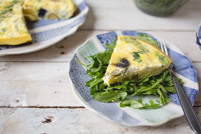 Potato and Arugula Frittata with Goat Cheese Recipe | via FoodforMyFamily.com