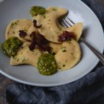 Potato Leek Casoncelli Pasta with Walnut Pesto #recipe | FoodforMyFamily.com