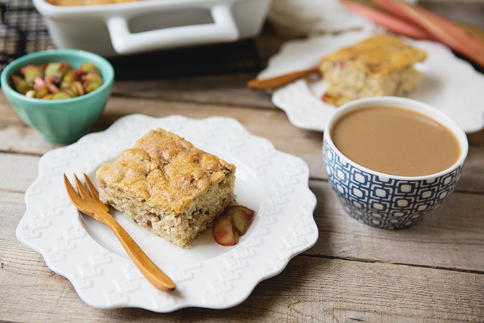 Rhubarb Coffee Cake #recipe | FoodforMyFamily.com
