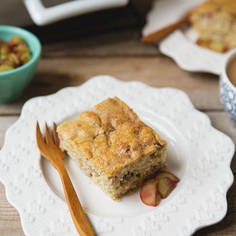 Rhubarb Coffee Cake #recipe   FoodforMyFamily.com