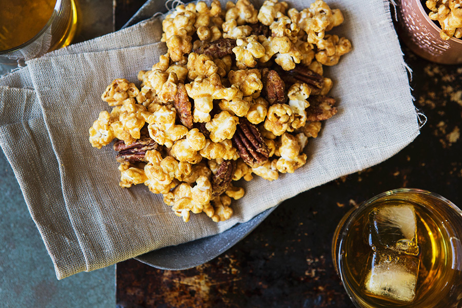 Salted Maple Whiskey Caramel Corn recipe | FoodforMyFamily.com