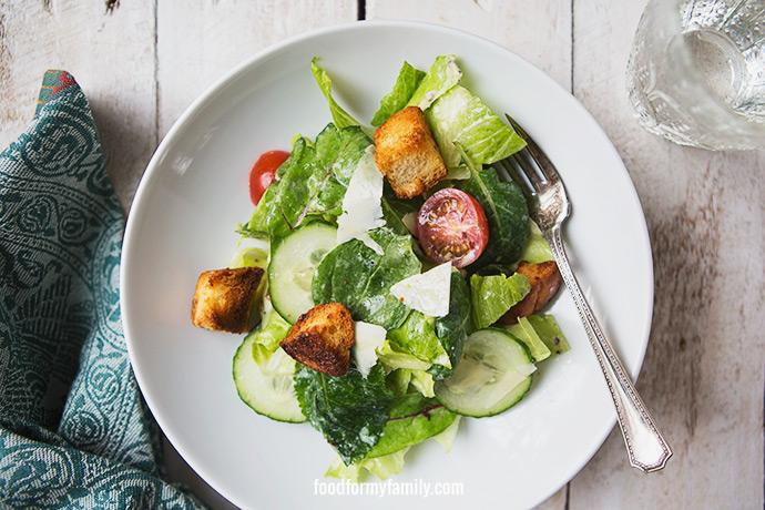 Simple Homemade Caesar Salad Dressing #recipe via FoodforMyFamily.com