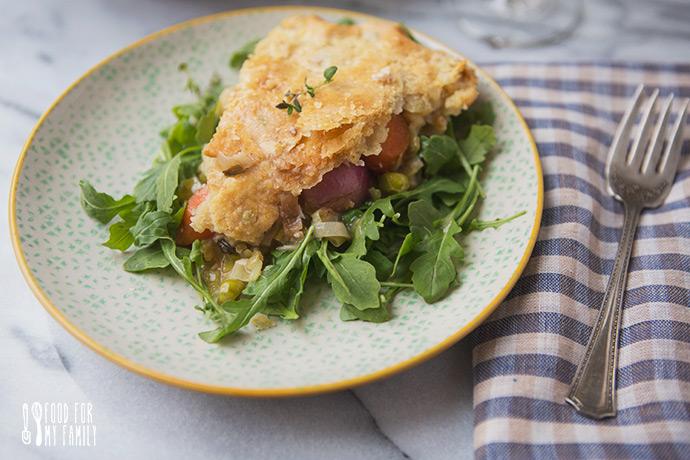Spring Vegetable CHicken Pot Pie #recipe via FoodforMyFamily.com