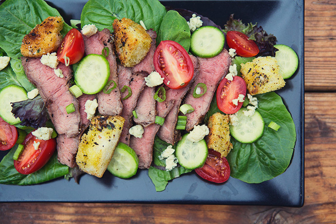 Steakhouse Rib Eye Salad with Aged Balsamic Vinaigrette #recipe via FoodforMyFamily.com